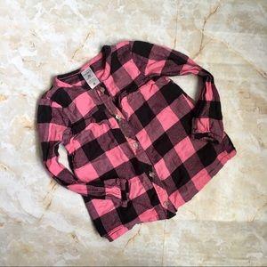 Carters Girls LS Shirt Black and Pink Plaid 2T